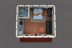 3D-план дачного домика Lounge 30 кв. м