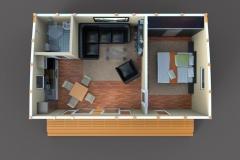 3D-план дачного домика Lounge 42 кв. м