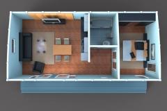 3D-план дачного домика Lounge 55 кв. м