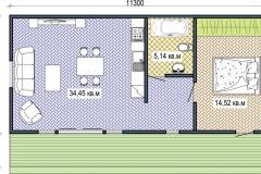План сборного дачного домика Prefab Homes Lounge 55