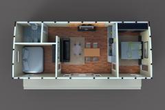 3D-план дачного домика Lounge 62 кв. м