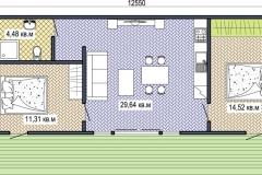 План сборного дачного домика Prefab Homes Lounge 62