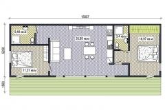 План сборного дачного домика Prefab Homes Lounge 75