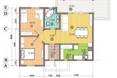 План каркасно-панельного одноэтажного дома Prefab Homes Modular 69 кв. м