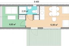 План мобильного дома Prefab Homes Mobile 22 кв. м