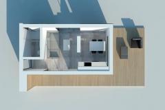 Планировка модульного домика Prefab Homes Modern 25 кв. м - вид сверху