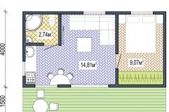 План модульного домика Prefab Homes Smart 27 кв. м