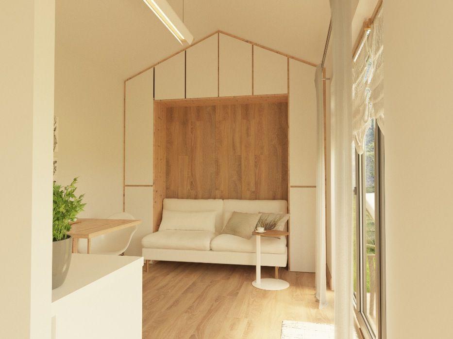 Дизайн гостиной для маленького дома из СИП панелей