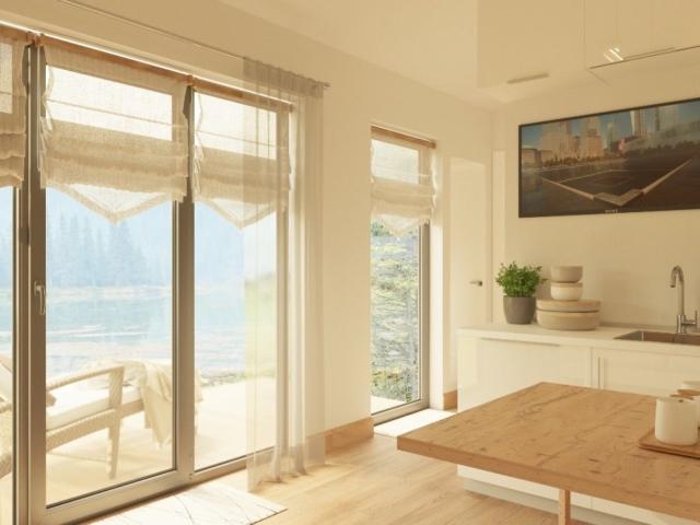 Окна в пол в маленьком доме из СИП панелей