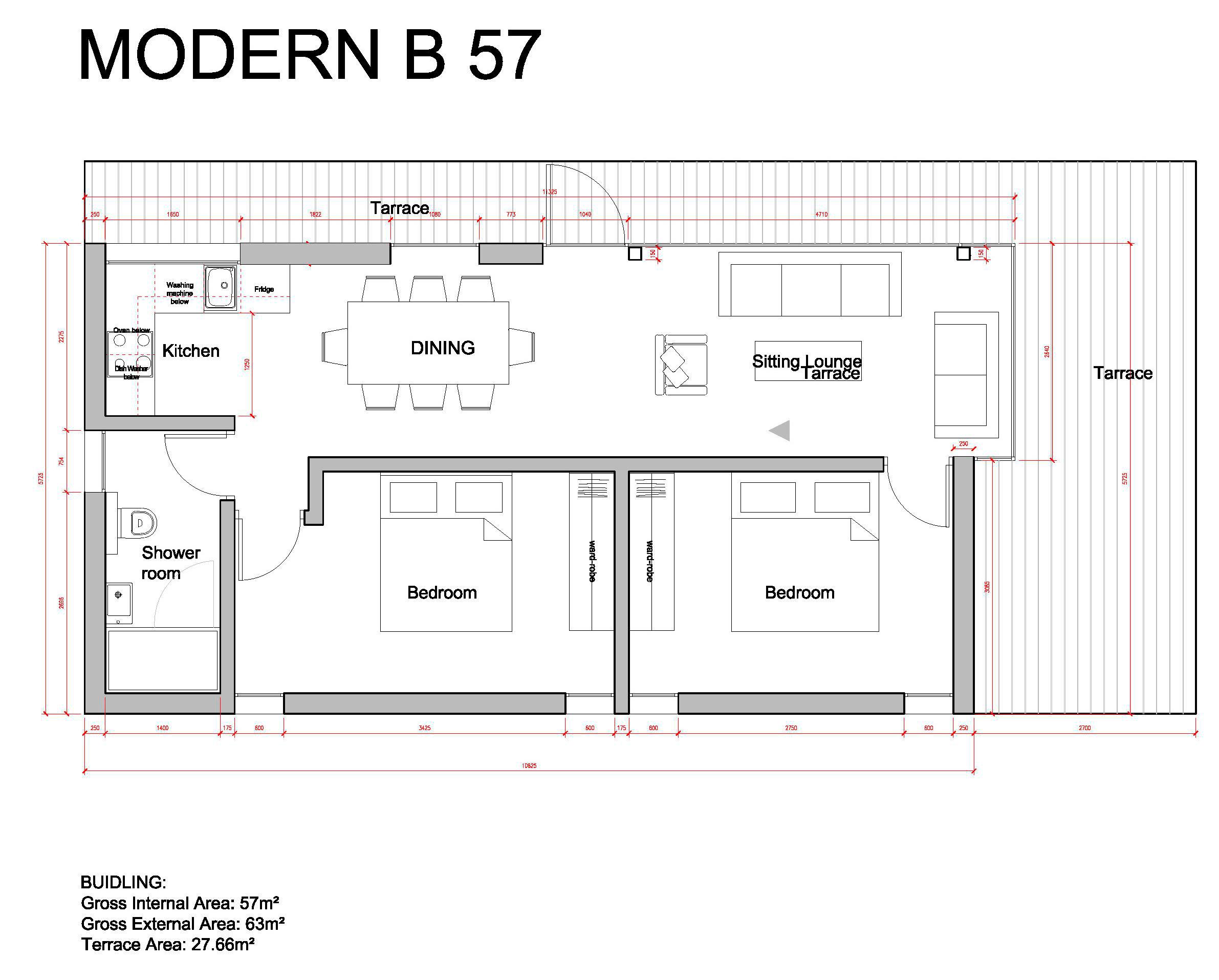 Проект Modern-B 57 - план этажа