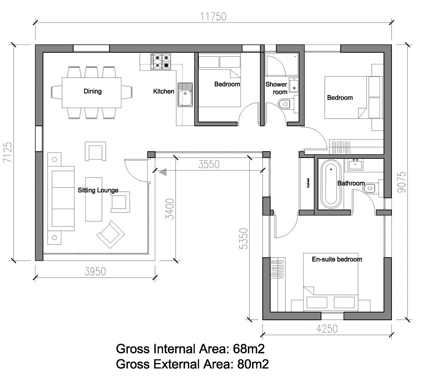 Проект Modern-B 80 - план этажа